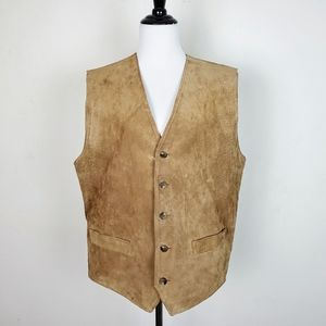 Vintage J Peterman Suede Leather Vest Jacket Tan